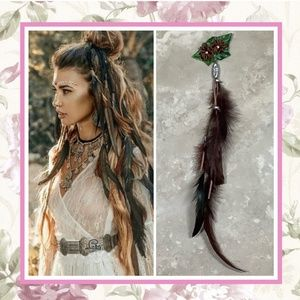 🍒 FEATHER HAIR EXTENSION BOHO GYPSY FLOWER BLING